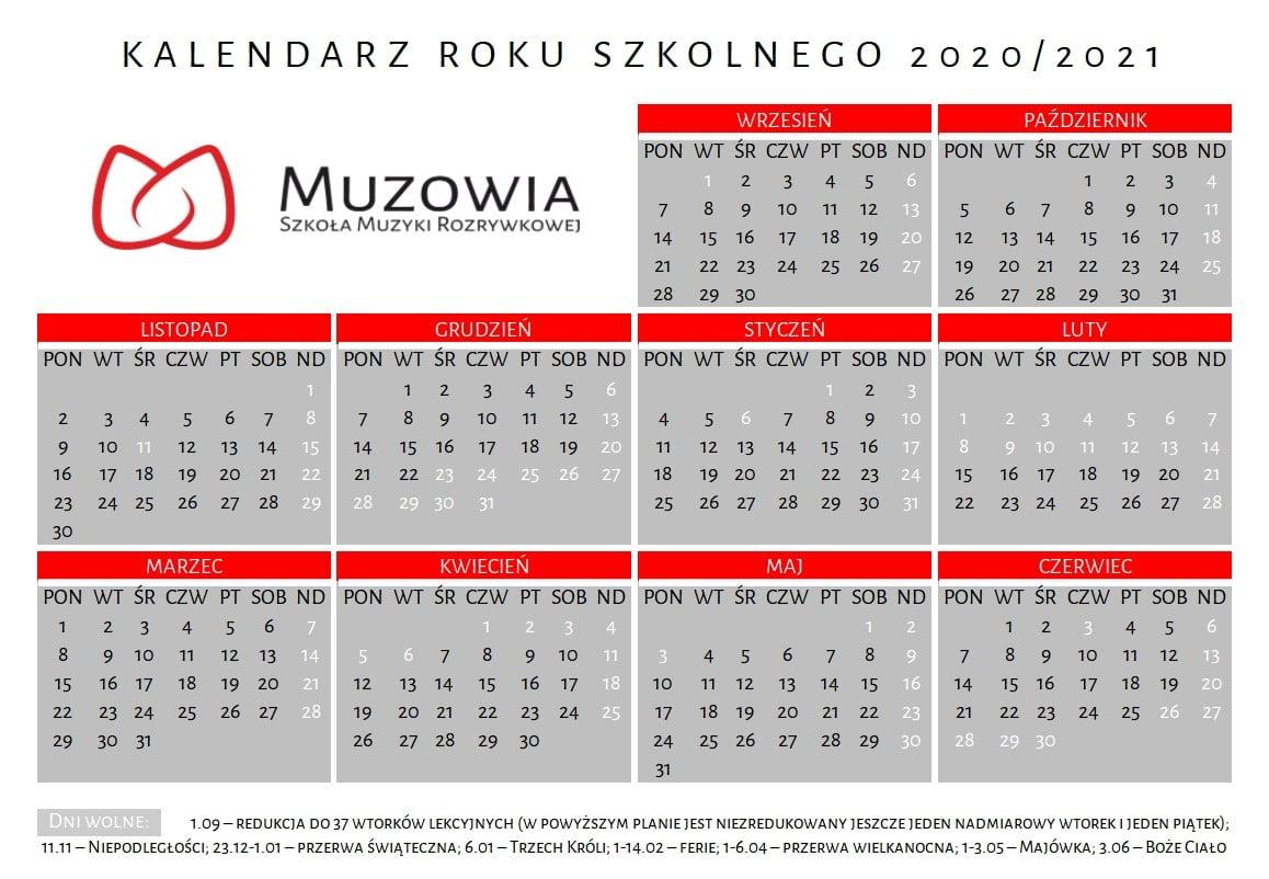 Kalendarz roku szkolnego 2020/21
